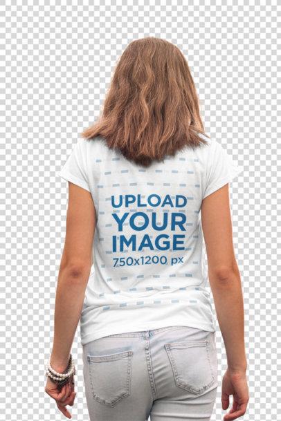 Transparent T-Shirt Mockup Featuring a Young Woman Walking Away 2762-el1