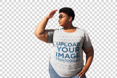 Transparent Plus Size Tee Mockup Featuring a Woman Shielding Her Eyes From The Sun 22577