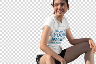 Transparent T-Shirt Mockup of a Girl Sitting on a Soccer Field 33572