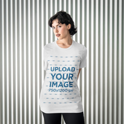 Transparent T-Shirt Mockup of Woman Posing with Both Arms Behind Her Back 4703-el1
