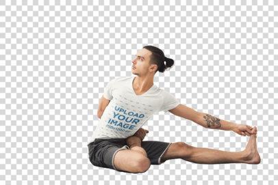 Transparent T-Shirt Mockup of a Tattooed Man Doing Yoga at Home 36990-r-el2