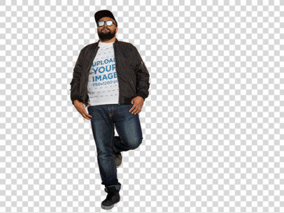 Transparent T-Shirt Mockup of a Plus Size Urban Style Guy Leaning Against a Wall a12285