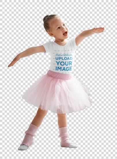 Transparent T-Shirt Mockup Featuring a Little Ballerina 40232-r-el2