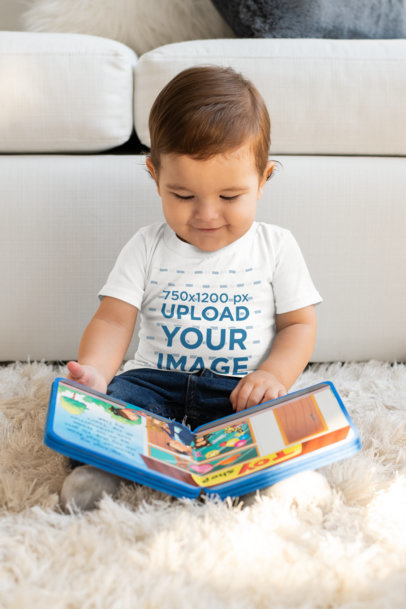 Transparent T-Shirt Mockup of a Baby Boy Reading a Book M999