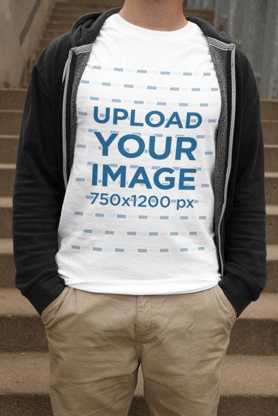 Transparent T-Shirt Mockup of a Man Casually Standing 2012-el1