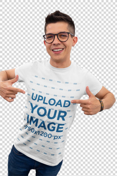 Transparent Mockup of a Young Happy Customer Showing His T-Shirt 26201