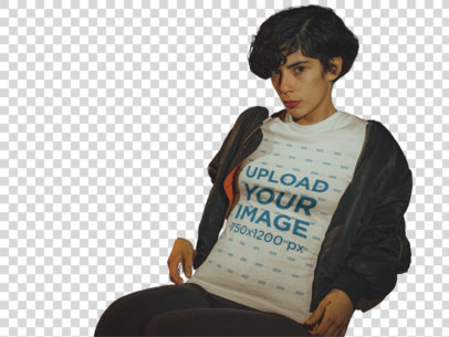 Transparent T-Shirt Mockup of a Trendy Woman Wearing a Bomber Jacket at Night a18896