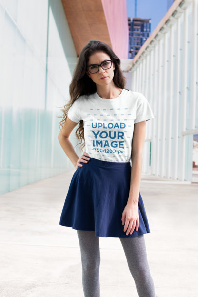 Transparent T Shirt Mockup Featuring a Handsome Woman Posing in a Skirt Outfit 18269