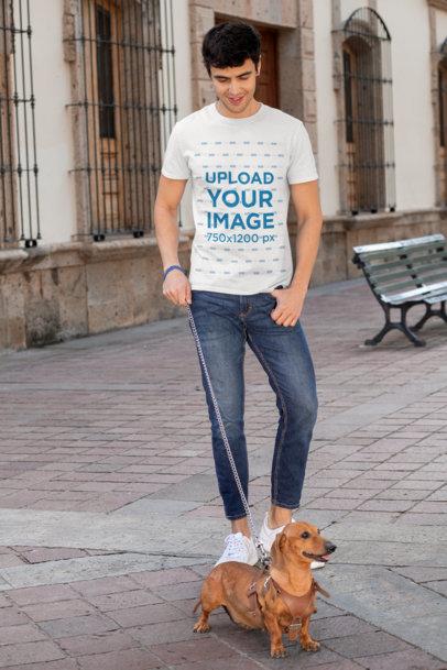 Transparent T-Shirt Mockup of a Man Walking His Dog 30683