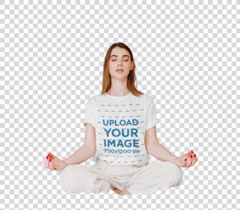 Transparent T-Shirt Mockup of a Woman Meditating in Her Room 45076-r-el2