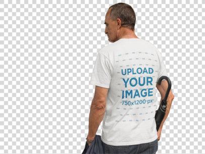 Transparent Back of an Elder Man Wearing a T-Shirt Mockup Carrying an Umbrella a10983b