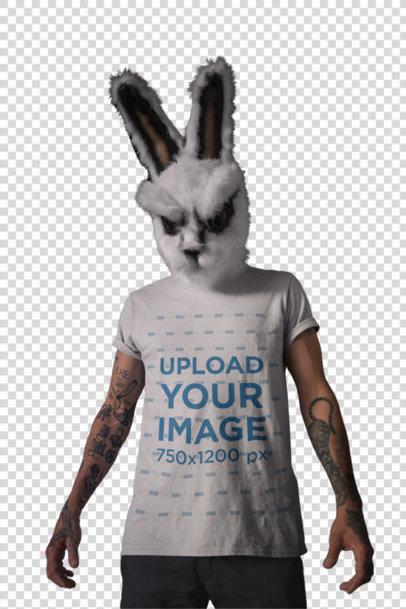 Transparent Round Neck Tee Mockup of a Man with a Halloween Rabbit Mask 22951