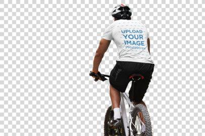 Transparent Back-View T-Shirt Mockup of a Man Riding His Bike 38249-r-el2