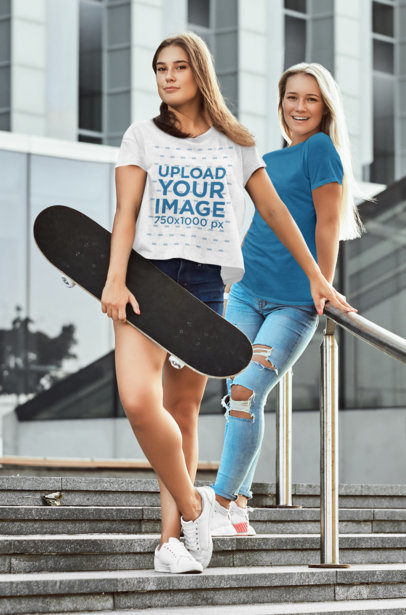 Transparent T-Shirt Mockup Featuring Two Young Women Posing on the Stairs 43441-r-el2
