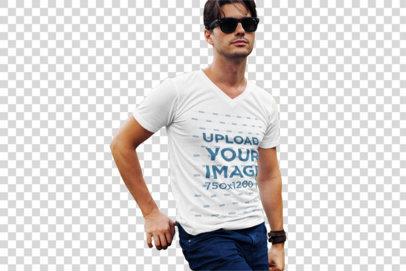Transparent T-Shirt Mockup of a Fashionable Man Posing at a Park 510-el