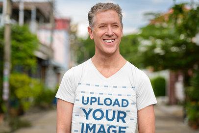 Transparent V-Neck T-Shirt Mockup of a White-Haired Man Smiling 40302-r-el2
