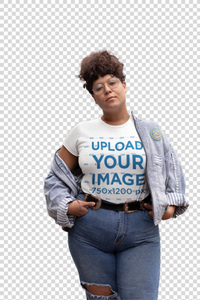 Transparent Mockup of a Sassy Woman Wearing a Plus Size Tee 30886