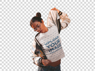 Transparent T-Shirt Mockup of a Woman Putting On Her Jacket 19379
