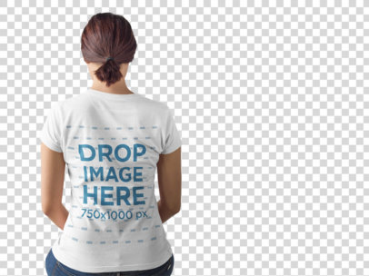 Transparent Mockup of the Back of a Girl Wearing a Tshirt while Sitting a9899b
