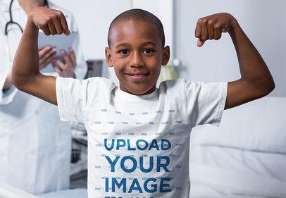 Transparent T-Shirt Mockup of a Strong Boy at a Hospital 40726-r-el2