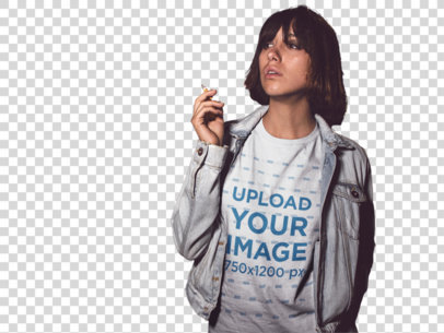 Transparent Trendy Girl Smoking in the City at Night While Wearing a Round Neck Tshirt with a Denim Jacket On Top a13564