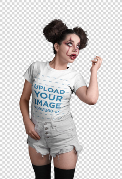 Transparent Halloween Mockup of a Girl Wearing a T-Shirt and Scary Clown Makeup Making Faces 22914