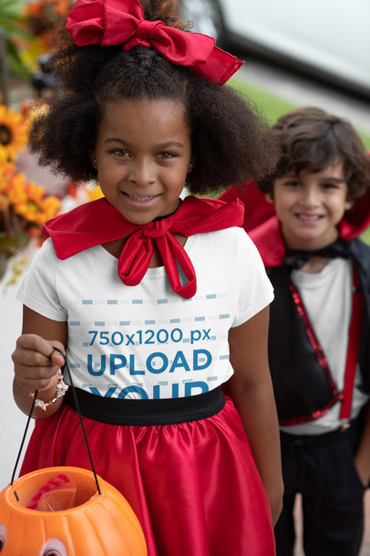 Transparent Mockup of a Girl Wearing a T-Shirt and Trick-or-Treating 29291