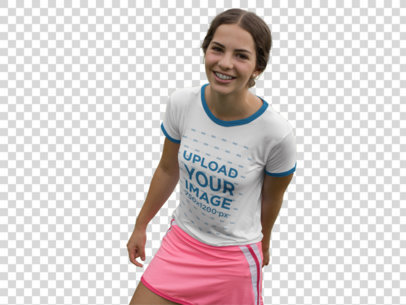 Transparent Smiling Girl Wearing a Pink Skirt and a Ringer T-Shirt Mockup while Outdoors a17055