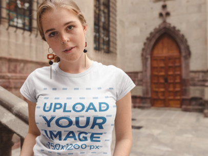 Transparent T-Shirt Mockup of a Girl with Freckles Outside a Church 22652