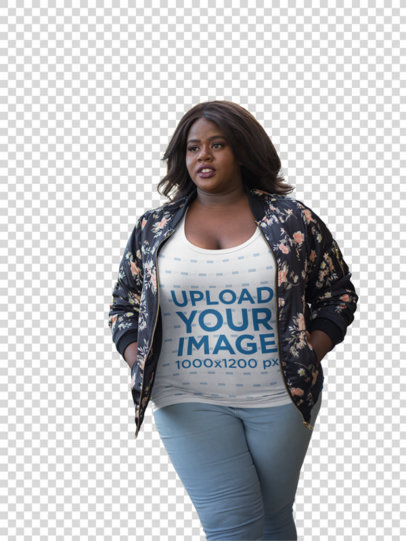 Transparent Plus Size T-Shirt Mockup Featuring a Woman Wearing a Bomber Jacket 18299