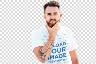 Transparent T-Shirt Mockup Featuring a Man Touching His Beard 37577-r-el2