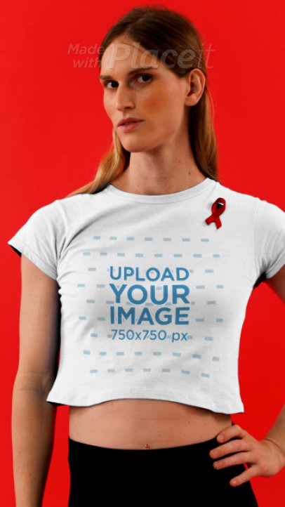 Crop Top Video of a Woman Wearing a Red Ribbon for AIDS Awareness 4174v