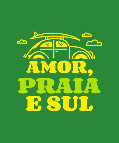 Summer-Themed T-Shirt Design Maker Featuring Text in Portuguese 3843m-4154