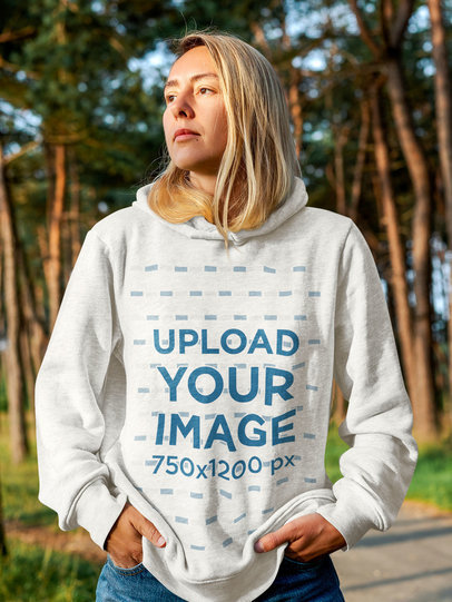 Heather Hoodie Mockup Featuring a Serious Woman Outdoors m15812-r-el2