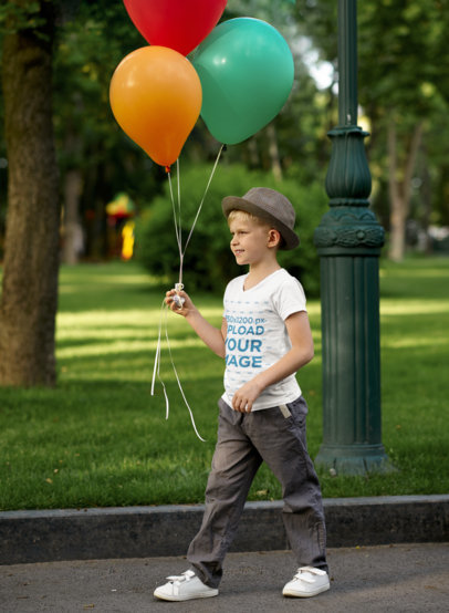 V-Neck T-Shirt Mockup Featuring a Happy Boy Holding Colorful Balloons m17374-r-el2