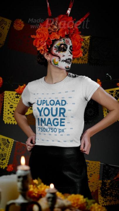 T-Shirt Video Featuring a Woman Wearing a Flower Crown for Dia de Muertos 4141v