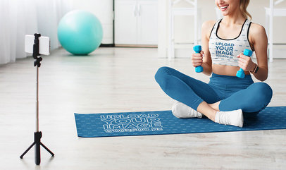 Sports Bra and Yoga Mat of a Woman Recording a Fitness Vlog m13810-r-el2