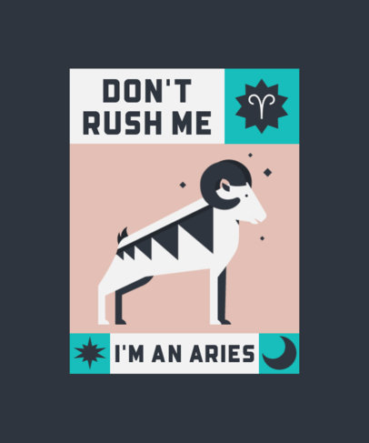 T-Shirt Design Template with an Aries Sign Illustration 4518d-el1