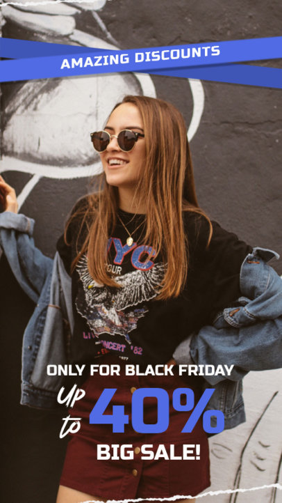 Black Friday-Themed Instagram Story Creator for a Clothing Sale 4538a-el1