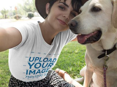 Selfie of a Pretty Girl Wearing a T-Shirt Mockup with her Dog a17979