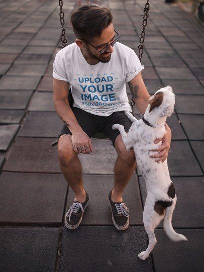 T-Shirt Mockup of a Man Petting His Dog at a Playground 18029