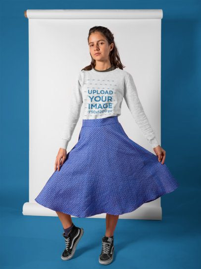 Girl with a Blue Skirt Wearing a Round Neck Sweatshirt Mockup a18499
