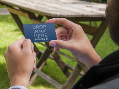 Man Holding Business Card 4589