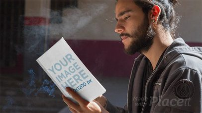 Bearded Man Smoking While Reading a Book in Stop Motion a13781
