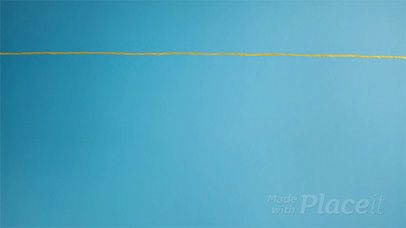 Three Flyers in Stop Motion Hanging From a Yellow Rope Against a Turquoise Background a13967