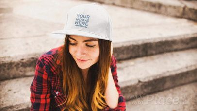 White Girl Sittin on Concrete Stairways While Wearing a Hat Stop Motion a13701