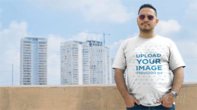 Plus Size T-Shirt Video of a Man Wearing Sunglasses On a Rooftop a12462