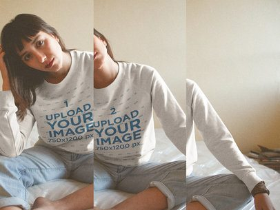Triple Shot of a Girl Wearing a Crewneck Sweater Mockup on her Bed a19003