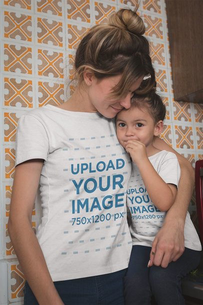 Mom Wearing a T-Shirt Mockup Hugging her Daughter a20278
