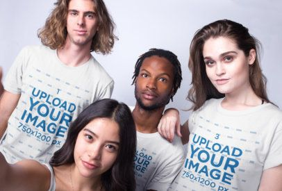 Selfie of Interracial Friends Wearing T-Shirts Mockup Against a White Background a19917
